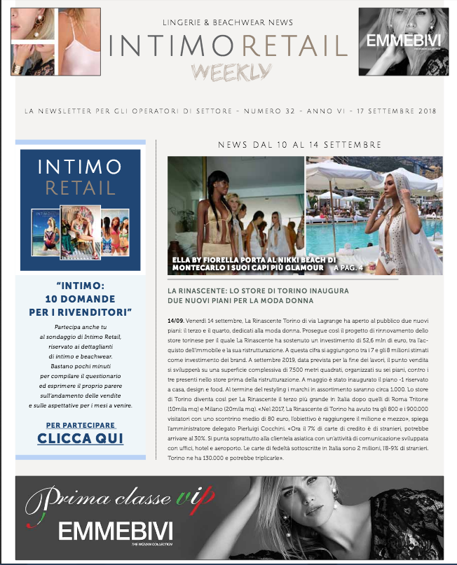 Intimo Retail Weekly n.32-2018