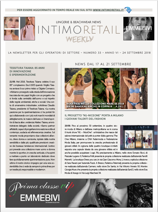 Intimo Retail Weekly n.33-2018